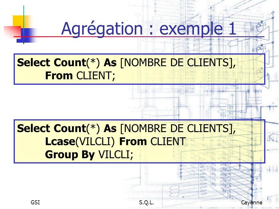 Agrégation : exemple 1Select Count(*) As [NOMBRE DE CLIENTS], From CLIENT; Select Count(*) As [NOMBRE DE CLIENTS], Lcase(VILCLI) From CLIENT.